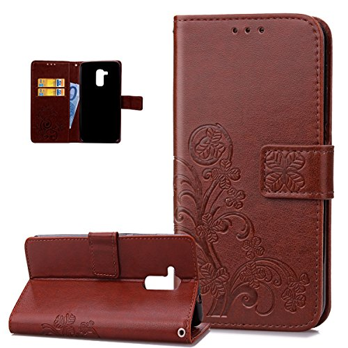 ikasus Coque Huawei Honor 5C Etui Gaufrage Trèfle Fleur Motif Housse Cuir PU Housse Etui Coque Portefeuille Protection supporter Flip Case Etui Housse Coque pour Huawei Honor 5C,Marron