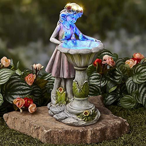Escultura de baño de pájaro con luz Solar para niña - Figuras...