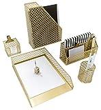 Blu Monaco Linda Organizador de escritorio Set - Escritorio organizadores y accesorios para la mujer - lindo Oficina de oro de oficina Accesorios - Organización de escritorio 1 5 pieza Oro