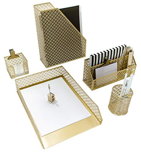Blu Monaco 5 Piece Cute Gold Desk Organizer Set - Desk Organizers and Accessories for Women - Cute Office Gold Desk Accessories - Desktop Organization