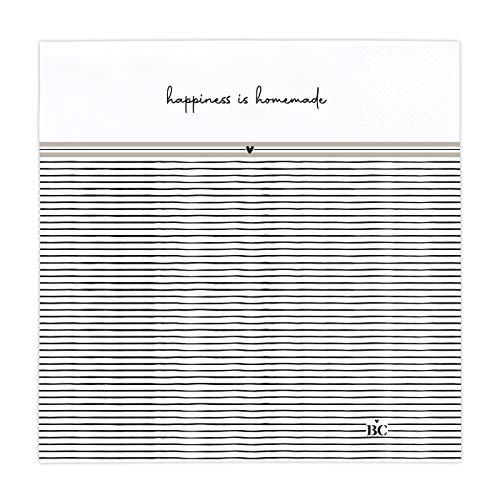 Papierservietten happiness is homemade weiss33x33cm Inhalt 20 Stück BC Napkin Servietten gedeckter Tisch Küche