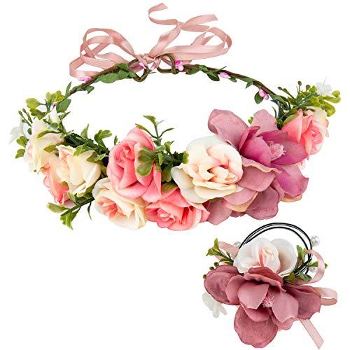 ZWOOS Blumen Stirnband und Blumenarmband, Blume Krone für Geburtstag, Hochzeit, Tanzparty (Rosa)