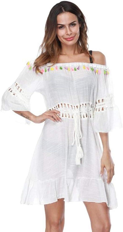 Women Dress FivePoint Sleeve Openwork Beach Skirt Summer Tassel Dress