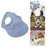 Pssopp Mascota Perro Deportes Gorra de béisbol Gorra de béisbol Mascota Gorra Exterior Sunbonnet Gorra de Sol de Moda Raya Ajustable Sombrero de Viaje de Verano con Orificios para los oídos(S-Azul)