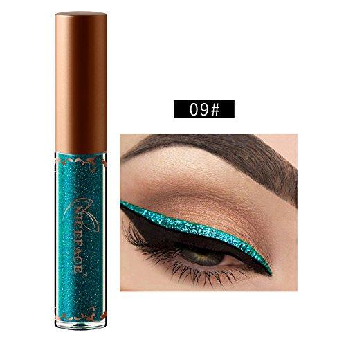 Flüssigkeit Metallic Glitter Eyeliner, Moresave 12 Farben Diamant gGlänzend Schimmer Wasserdicht Bunt Eyeliner