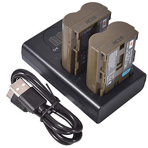 DSTE 2X BP-511 Repuesto Batería + Cargador USB Dual con Pantalla LCD Compatible para BP511 BP511A BP-511A y Canon EOS 10D,20Da,300D,30D,40D,50D,D30,D60,DM-MV100Xi,DM-MV430,DM-MV450,DM-MVX1i Cámara