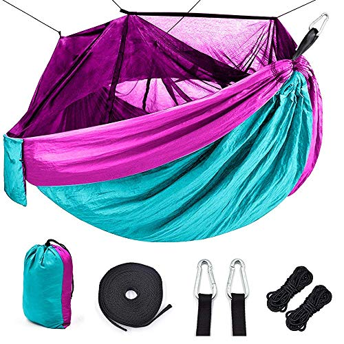EQVUDJT Hamaca Jardin Exterior, Portable Outdoor Camping Hammock with Net Parachute Fabric Camping Hammock Hunting Hanging Sleeping Swing for Patio Yard Garden Light Blue Purple