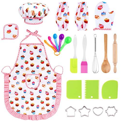 Xruison Conjunto de Juego de rol de Chef 23 PCS Set de Cocina y Hornear Juego de Cocina Juego de rol Kits para Niños Niñas 3 4 5 6 7 8