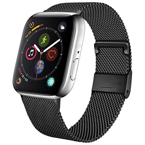 Mugust Metallo Cinturino Compatibile con Apple Watch Cinturino 38mm 40mm 42mm 44mm , Magnetico Cinturini di Ricambio Traspirante in Acciaio Inossidabile per iWatch Series 6 5 4 3 2 1 SE (42/44 mm)