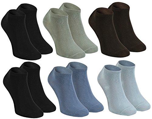 Rainbow Socks - Hombre Mujer Calcetines Cortos Colores de Bambu - 6 Pares - 2xNegro Ceniza Oliva Marrón Vaquero - Talla 42-43
