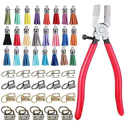 CDIYTOOL Juego de 45 llaves, incluye 20 llaves con 1 alicates para llavero y 24 borlas de cuero para llavero, llavero y llavero de pulsera, llavero de cuero; suministros de hardware