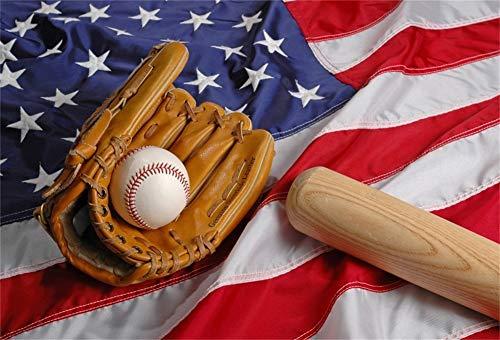 Cassisy 2,2x1,5m Vinyl Sport Fotohintergrund Amerikanische Flagge Wallpaper Amerikanischer Fußball Baseball Handschuhe Fotoleinwand Hintergrund für Fotoshoot Fotostudio Requisiten Party Photo Booth