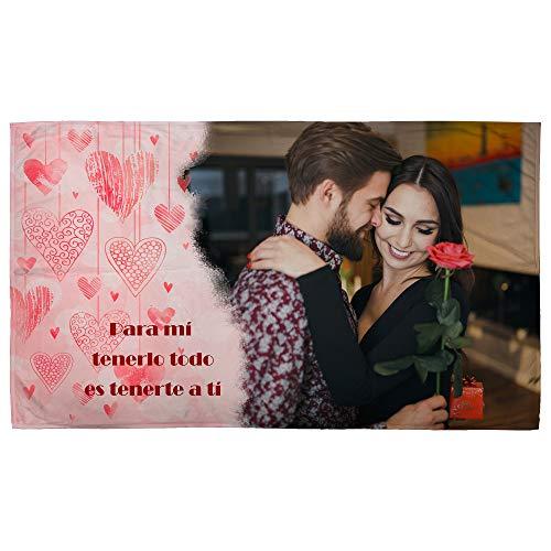 LolaPix Manta Fotografia Personalizada. Regalos San Valentin Personalizados. 120X190. Varios Diseños. Mantas Personalizadas por 1 Cara. Manta Suave Corazones