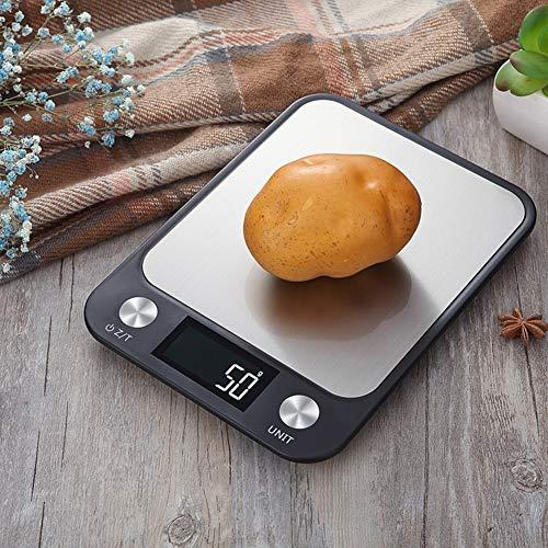 XQxiqi689sy - Báscula electrónica digital ultrafina de alta precisión con pantalla LCD, herramienta de medición de alimentos para cocina, color negro