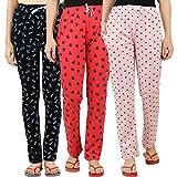 Peach Blossom Women's Cotton Printed Pajama (Pack of 3) (navyarrow-redheart-panda_Multicolored_Medium)