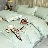 FMHCTN Funda nórdica Individual Blanca, la Seda está colocada en Verano Ropa de Cama de Dormitorio de Seda de Hielo D Cama de 2,0 m (4 Piezas)