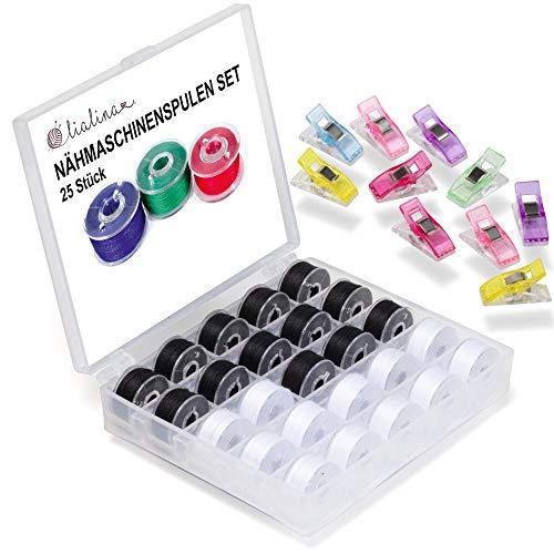 Lialina 25 bobinas para máquina de coser, incluye caja de bobinas, enrolladas en Alemania, hilo 120/50 m/100% poliéster, más 10 pinzas de tela (negro/blanco)