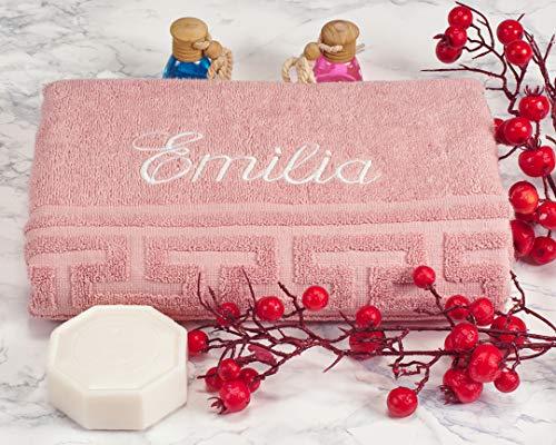 AngelicArt Personalisiertes Handtuch mit Namen, bestickte Handtücher (Rosa, 70 x 140 cm)