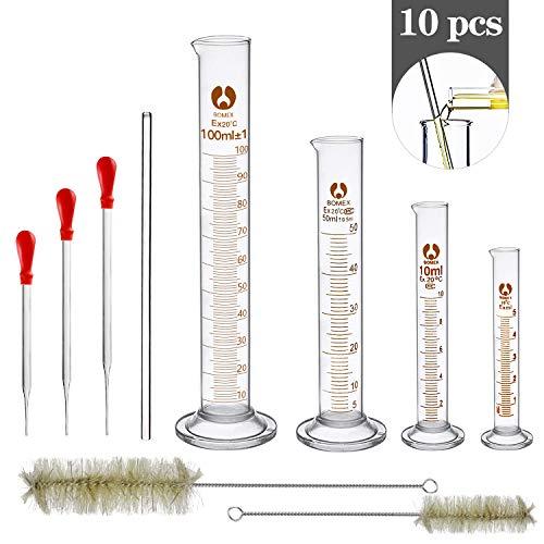 Wandefol Set di esperimenti di 10 Pezzi, 4 Pezzi di Vetro di misurazione Graduazione Cilindro Strumenti di misurazione Liquido 5ml 10ml 50ml 100ml e 3 Contagocce + 2 Spazzole + 1 Mescolatore