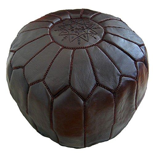 ALMADIH Leder Sitzkissen Pouf Dunkelbraun - Traditionelle Handarbeit aus robustem Leder formstabile Füllung – Sitzsack Ottoman marokkanische orientalische Bodenkissen braun (Lederpouf Dunkelbraun)