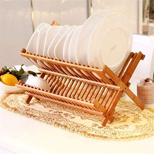 AWJ Folding Dish Rack, Drying Rack Bamboo Holder Utensil Drainer Plate Storage Holder Plate Wooden Flatware Dish Rack Kitchen Shelf
