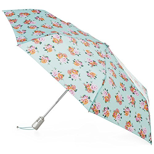 totes Automatic Open Close Water-Resistant Travel Folding Umbrella with Sun Protection, Miami Nice Floral