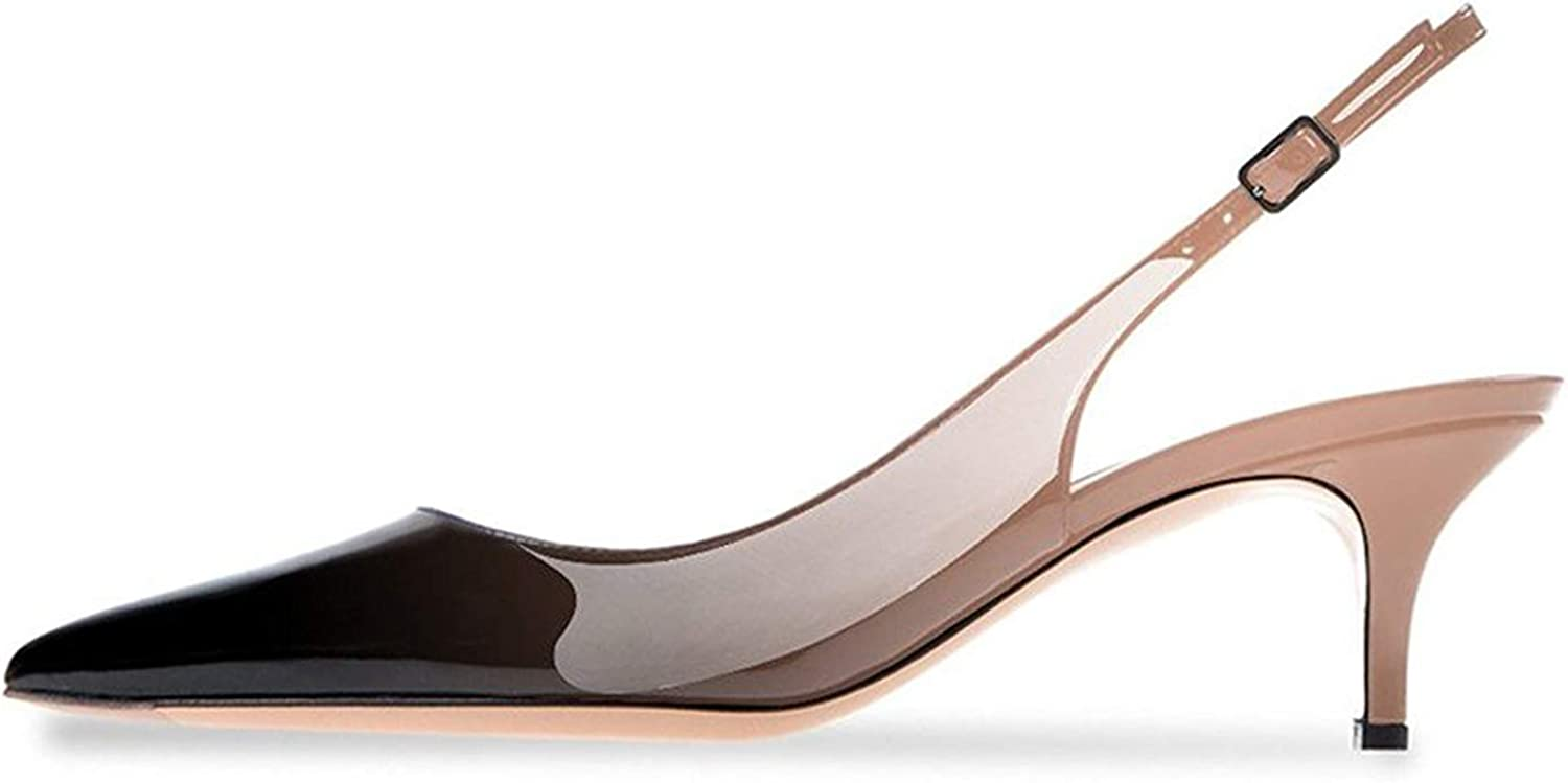 Lovirs Womens Slingback Ankle Strap Sandals Stiletto Mid-Heel Pointy Toe Pumps shoes for Party Dress