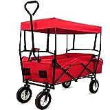 Deuba Charrette de Transport Pliable avec Toit Amovible Rouge - Chariot a Main pour...