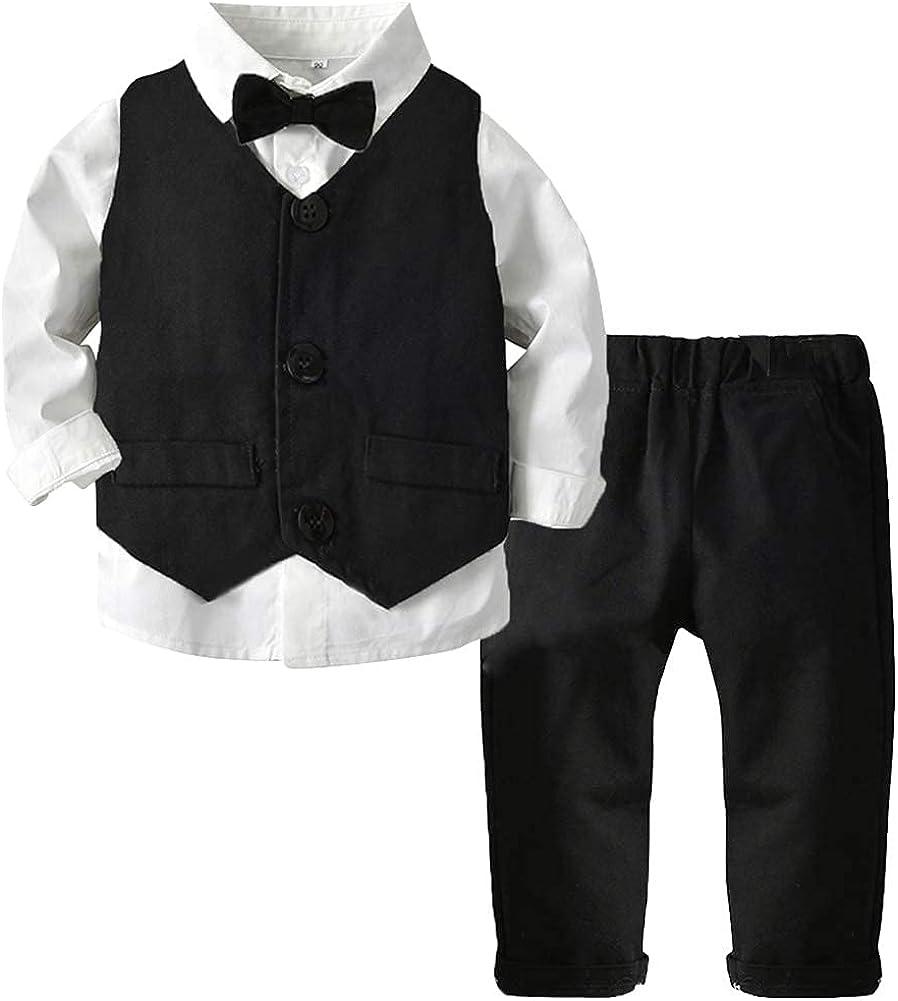 ARTMINE Boys 3-Piece Vest Suits Set Long Sleeve Shirts and...