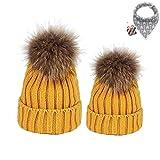 DOTBUY Maman et bébé à Tricoter Bonnet Hiver Chapeau Tricoté Beanie Hats, 2PC Doux Chapeau Chaud du Mignon Enfants Bébé Chapeaux (Jaune)