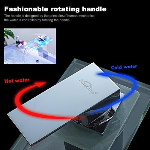 Auralum® LED RGB 3 Farbewechsel Glass Wasserhahn Chrom Wasserfall Waschtischarmatur Armatur für Bad Badenzimmer Waschbecken - 4