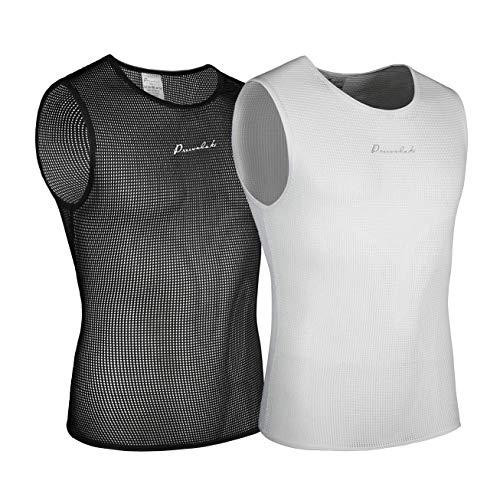 Przewalski Ärmelloses Radunterhemd für Herren Quick Dry Bike Unterziehwesten Atmungsaktive Oberteile Fahrradbekleidung , Schwarz & Weiß , 2 Packungen