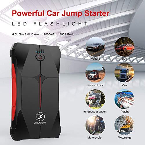 Avviatore Emergenza per Auto- 800A 12000mAh Avviatore Portatile per Motore Benzina, Impermeabile IP67, fino a 4,0L Ges o 2,0L Diesel, 12V Jump Starter, Torcia a LED, Porta USB da per Smartphone