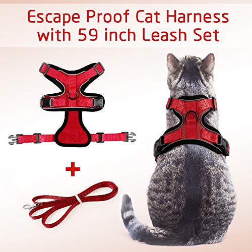 rabbitgoo Cat Harness and Leash for Walking, Escape Proof Soft Adjustable Vest Harnesses for Medium Large Cats, Easy Control Breathable Reflective Strips Pet Safety Jacket, Red, S (Chest: 18