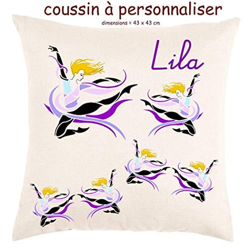 Coussin avec sa Housse Toucher très Doux Danseuse Personnalisable avec un Prénom Exemple Lila