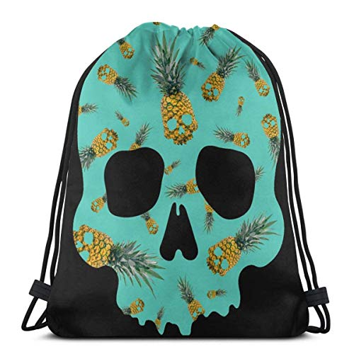 OPLKJ Gym Kordelzug Taschen, Schädel Ananas Tote Rucksack Sackpack für Frauen Männer Gym Sack Tasche für Gym Schwimmhandschuhe Aufbewahrungstasche