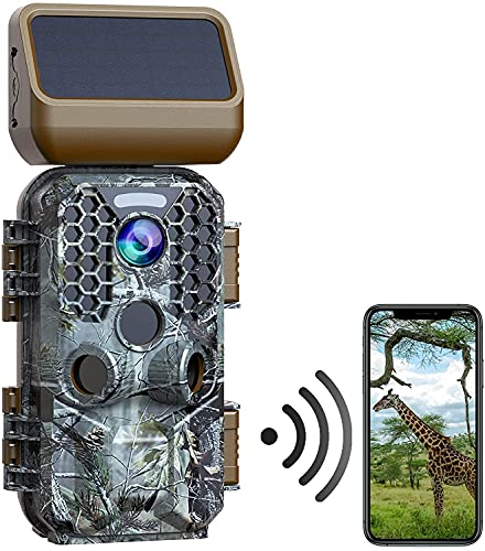 """WiFi Trail Camera Solar Powered Game Camera 30MP 4K Native Hunting Trail Cam with Night Vision Motion Activated Waterproof Trail Game Cam for Wildlife Monitoring MP4 Video 2.4"""" Screen Deer Camera"""