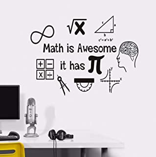 Math is Awesome Wall Decor Thinking Sticker for Wall Calculator Decals Vinyl Decorations Interior Home Design Art Murals 57X77CM