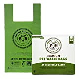 Biodegradable Dog Poop Bags | Compostable Dog Waste Bags with Handles | 100% Plastic Free, Unscented, Vegetable-Based & Eco-Friendly, Thick & Leak Proof, Easy Detach & Open | Standard Size | 60 Count