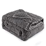 """Lofus Fuzzy Faux Fur Weighted Blanket 15lbs,Snuggly Luxury Shaggy Longfur Heavy Warm Elegant Cozy Plush Sherpa Microfiber Blanket, for Couch Bed Chair Photo Props – 48""""x 72"""" – Dual Sided Grey"""