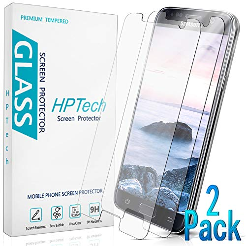 HPTech Galaxy S7 Screen Protector - Tempered Glass Film for Samsung Galaxy S7, Easy to Install, Bubble Free, 9H Hardness, 2-Pack