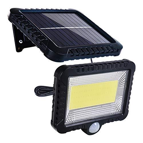 ZICBOL Luces solares para exteriores con sensor de movimiento, 100 LED IPX65 impermeable luz de seguridad solar, luces solares con cable de 5 m para cerca, jardín, patio