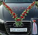 VIP Girlande 64 hochwertige Rosen 16 extrastarken Saugnäpfen 2 x 180 cm Girlande 4 Türgriffdekorationen 2 Rattanherzen Braut Paar Autoschmuck Hochzeit Car Auto Wedding PKW ®Auto-schmuck (Rot)