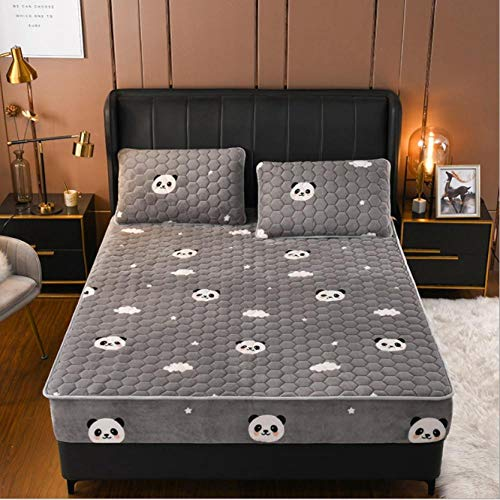 GSYHZL with Depth Pocket Only Bedsheet,Milk velvet quilted king bed fitted sheet, thick warmth flannel printed double bed mattress protector-Z_180cmx200cm+30cm