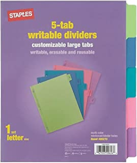 Staples 486272 Large Tabs Write & Erase Paper Dividers 5-Tab Multicolor