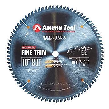 Amana Tool - 610800C Electro-BLU Carbide Tipped Trim 10  Dia x 80T ATB 10 Deg 5/8 BO