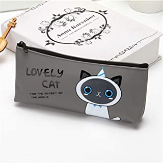 YWSCXMY-AU Canvas Pencil Case School Supplies High Capacity Bag Pen Gift Pen Storage Box Stationery (Color : Gray)