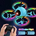 Dwi Dowellin 10 Minutes Long Flight Time Mini Drone for Kids with Blinking Light One Key Take Off Spin Flips Crash Proof RC Nano Quadcopter Toys Drones for Beginners Boys and Girls, 2 Battery, Blue