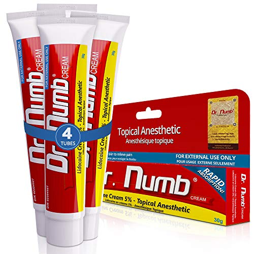4 Tubes of Dr. Numb Maximum Topical Anesthetic Anorectal Cream, Lidocaine 5% ~ Net Wt 1 Oz (30g) Per Tube