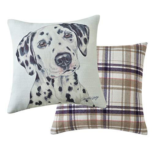 Viceni Dalmation Filled Dog Cushion-43 x 43cm / 17 x 17-inch, Multi-Coloured, 43 x 43cm